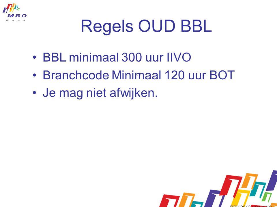 Regels OUD BBL •BBL minimaal 300 uur IIVO •Branchcode Minimaal 120 uur BOT •Je mag niet afwijken.