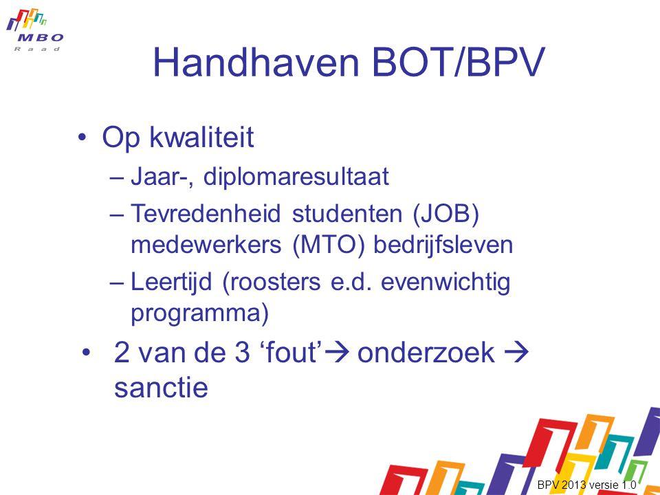 Handhaven BOT/BPV •Op kwaliteit –Jaar-, diplomaresultaat –Tevredenheid studenten (JOB) medewerkers (MTO) bedrijfsleven –Leertijd (roosters e.d.
