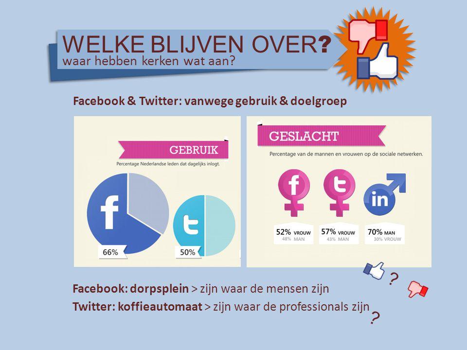 Facebook & Twitter: vanwege gebruik & doelgroep Facebook: dorpsplein > zijn waar de mensen zijn Twitter: koffieautomaat > zijn waar de professionals z