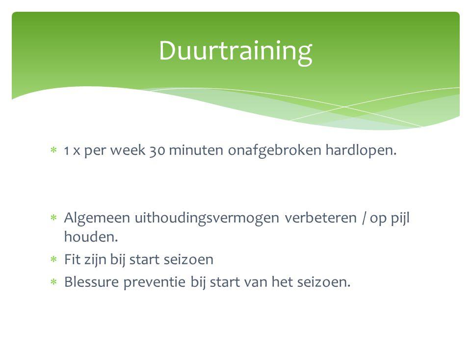  1 x per week 30 minuten onafgebroken hardlopen.  Algemeen uithoudingsvermogen verbeteren / op pijl houden.  Fit zijn bij start seizoen  Blessure