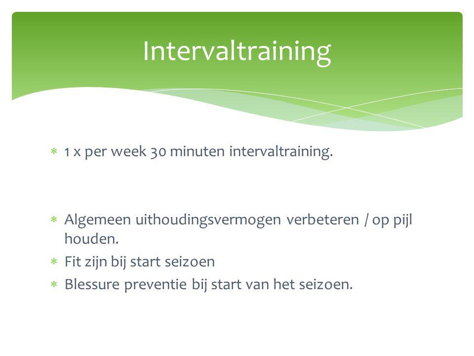  1 x per week 30 minuten intervaltraining.  Algemeen uithoudingsvermogen verbeteren / op pijl houden.  Fit zijn bij start seizoen  Blessure preven