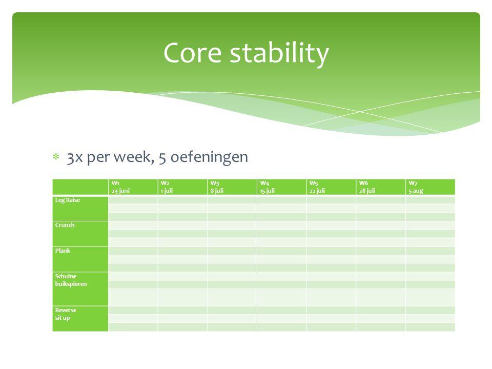  3x per week, 5 oefeningen Core stability W1 24 juni W2 1 juli W3 8 juli W4 15 juli W5 22 juli W6 28 juli W7 5 aug Leg Raise Crunch Plank Schuine bui