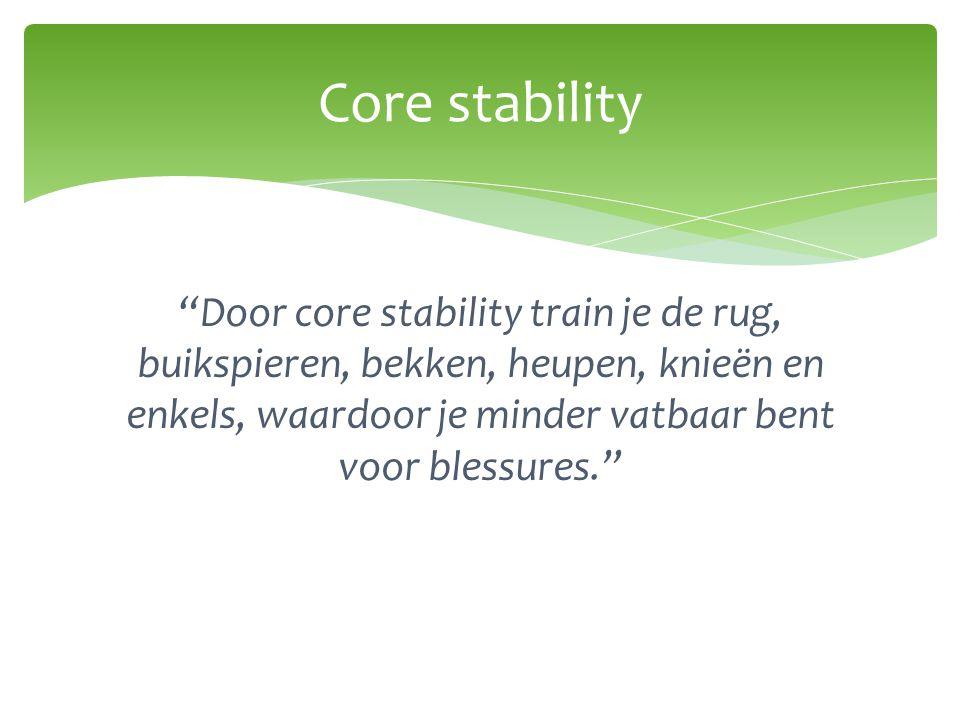 """""""Door core stability train je de rug, buikspieren, bekken, heupen, knieën en enkels, waardoor je minder vatbaar bent voor blessures."""" Core stability"""