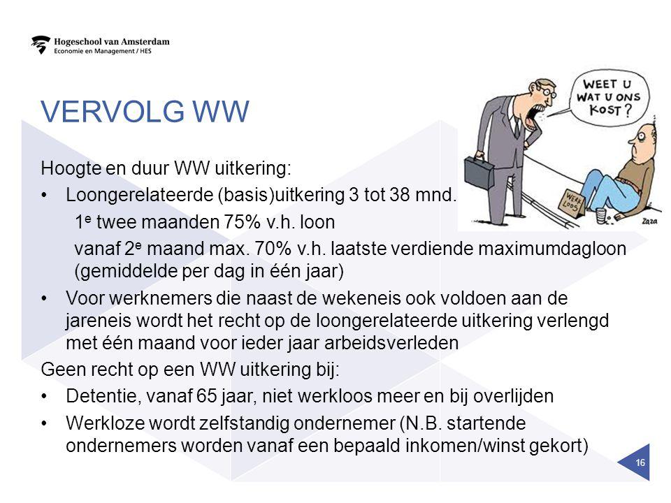 VERVOLG WW Hoogte en duur WW uitkering: •Loongerelateerde (basis)uitkering 3 tot 38 mnd. 1 e twee maanden 75% v.h. loon vanaf 2 e maand max. 70% v.h.