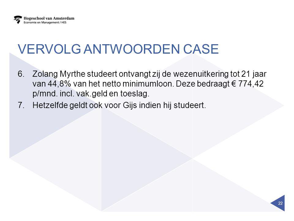 VERVOLG ANTWOORDEN CASE 6.Zolang Myrthe studeert ontvangt zij de wezenuitkering tot 21 jaar van 44,8% van het netto minimumloon. Deze bedraagt € 774,4