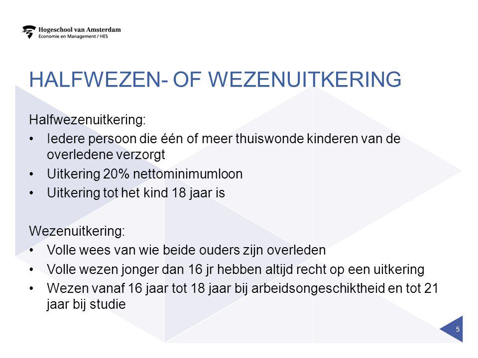 HALFWEZEN- OF WEZENUITKERING Halfwezenuitkering: •Iedere persoon die één of meer thuiswonde kinderen van de overledene verzorgt •Uitkering 20% nettomi
