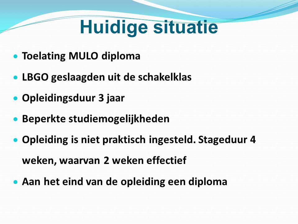 Huidige situatie  Toelating MULO diploma  LBGO geslaagden uit de schakelklas  Opleidingsduur 3 jaar  Beperkte studiemogelijkheden  Opleiding is n