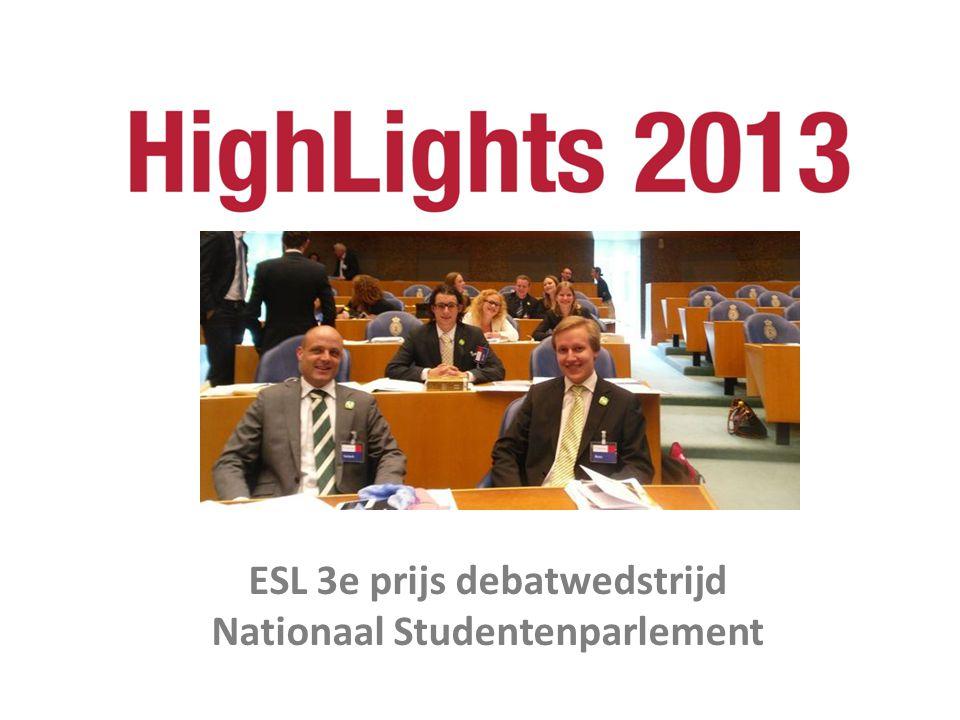 ESL 3e prijs debatwedstrijd Nationaal Studentenparlement