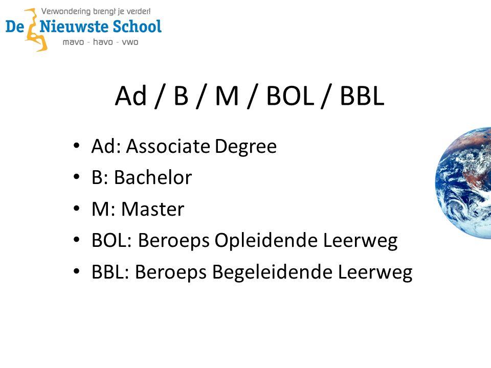 Ad / B / M / BOL / BBL • Ad: Associate Degree • B: Bachelor • M: Master • BOL: Beroeps Opleidende Leerweg • BBL: Beroeps Begeleidende Leerweg