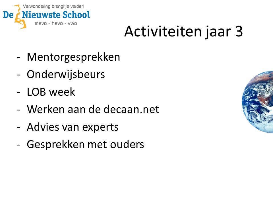 Activiteiten jaar 3 -Mentorgesprekken -Onderwijsbeurs -LOB week -Werken aan de decaan.net -Advies van experts -Gesprekken met ouders