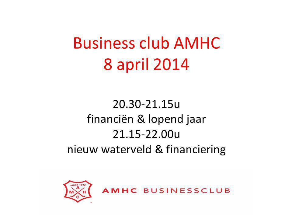Business club AMHC 8 april 2014 20.30-21.15u financiën & lopend jaar 21.15-22.00u nieuw waterveld & financiering