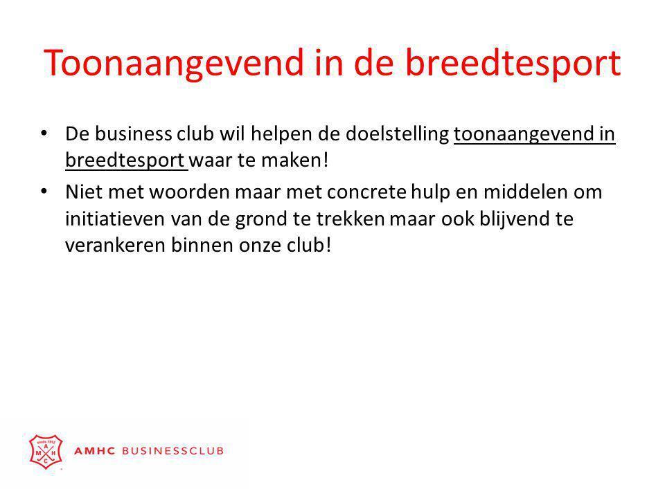 Toonaangevend in de breedtesport • De business club wil helpen de doelstelling toonaangevend in breedtesport waar te maken.