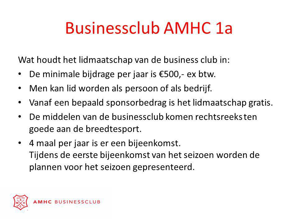 Businessclub AMHC 1a Wat houdt het lidmaatschap van de business club in: • De minimale bijdrage per jaar is €500,- ex btw.