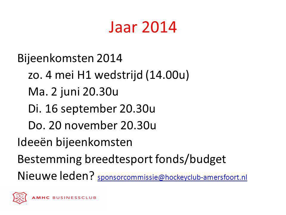 Jaar 2014 Bijeenkomsten 2014 zo.4 mei H1 wedstrijd (14.00u) Ma.