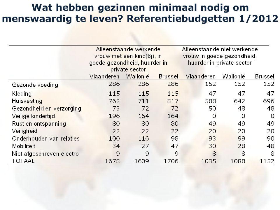 Wat hebben gezinnen minimaal nodig om menswaardig te leven Referentiebudgetten 1/2012