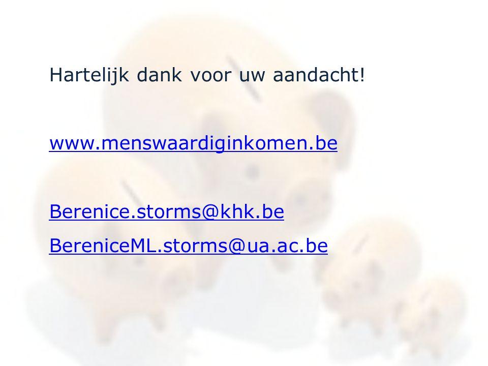 Hartelijk dank voor uw aandacht! www.menswaardiginkomen.be Berenice.storms@khk.be BereniceML.storms@ua.ac.be