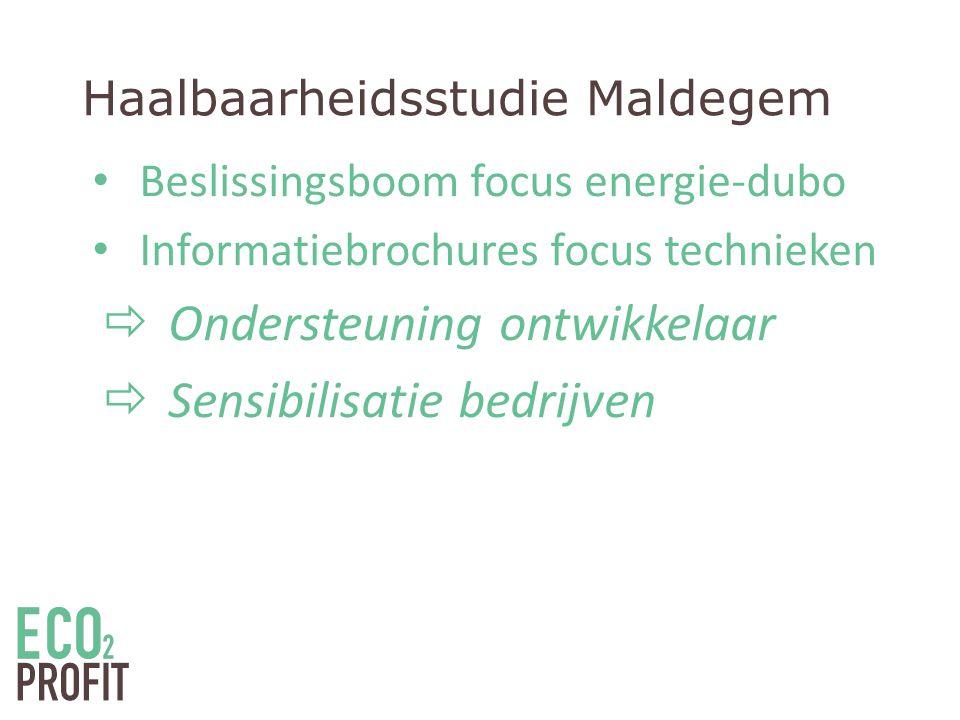 Haalbaarheidsstudie Maldegem • Beslissingsboom focus energie-dubo • Informatiebrochures focus technieken  Ondersteuning ontwikkelaar  Sensibilisatie bedrijven