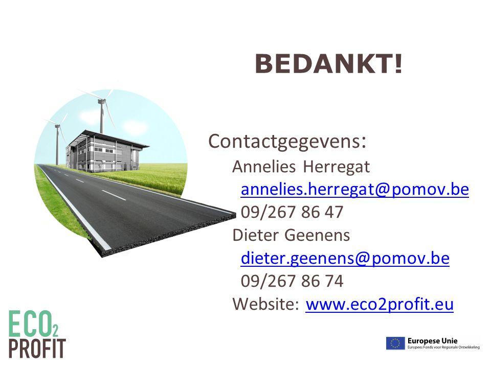 Contactgegevens : Annelies Herregat annelies.herregat@pomov.be 09/267 86 47 Dieter Geenens dieter.geenens@pomov.be 09/267 86 74 Website: www.eco2profit.euannelies.herregat@pomov.bedieter.geenens@pomov.bewww.eco2profit.eu BEDANKT!