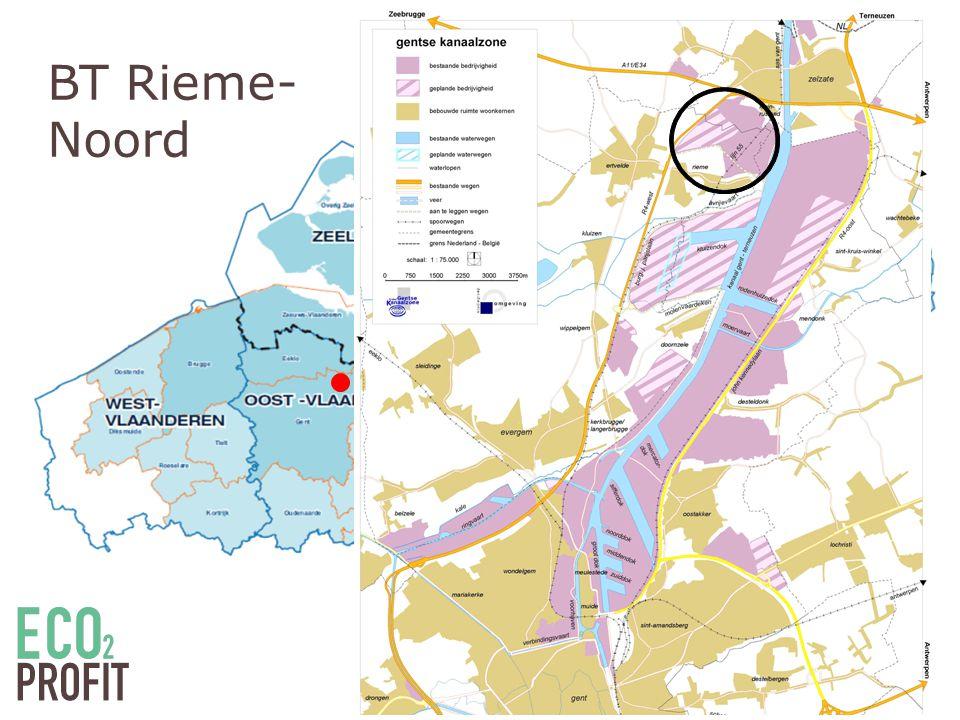 Bedrijventerrein Rieme-Noord • Gedeelte havenbedrijf Gent • Transport, distributie en logistiek • Kengetallen terrein: Elektriciteitsvraag (GWh/jaar)17 Warmtebehoefte (GWh/jaar)41 CO 2 -uitstoot (kton/jaar)15 Uitgeefbare oppervlakte bruto/netto (ha)70 /58