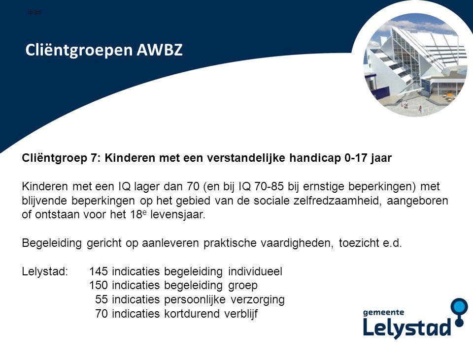 PowerPoint presentatie Lelystad Cliëntgroepen AWBZ Cliëntgroep 7: Kinderen met een verstandelijke handicap 0-17 jaar Kinderen met een IQ lager dan 70