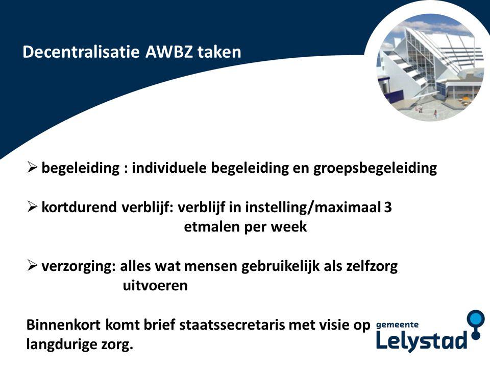 PowerPoint presentatie Lelystad Cliëntgroepen AWBZ Cliëntgroep 9: mensen met een zintuiglijke handicap Het betreft hier altijd gespecialiseerde begeleiding afgestemd op de handicap.