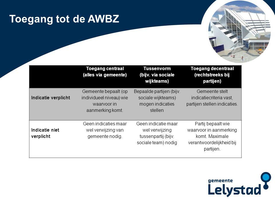 PowerPoint presentatie Lelystad Toegang tot de AWBZ Toegang centraal (alles via gemeente) Tussenvorm (bijv. via sociale wijkteams) Toegang decentraal