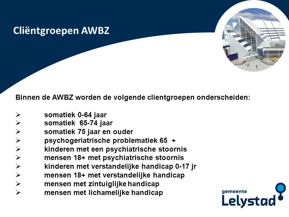 PowerPoint presentatie Lelystad Binnen de AWBZ worden de volgende clientgroepen onderscheiden:  somatiek 0-64 jaar  somatiek 65-74 jaar  somatiek 7