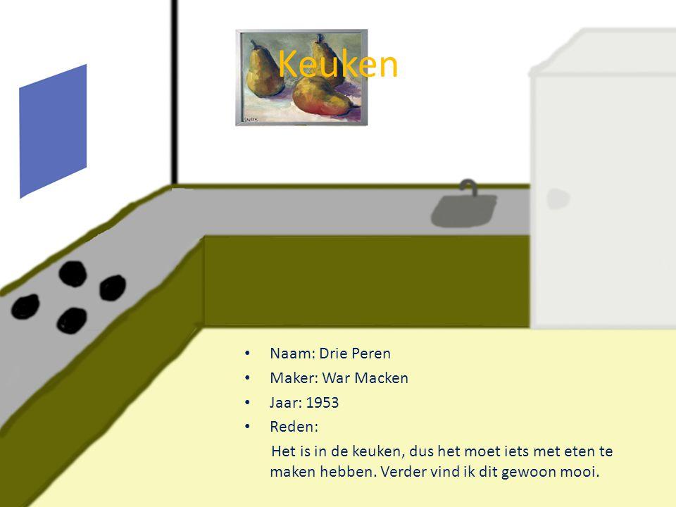 Eetkamer • Naam: Hollands Landschap • Maker: Hendrik Hulk • Jaar: 1905 • Reden: Het is sowieso mooi en het geeft door het landschap een rustige sfeer aan de kamer, wat mijns inziens prettiger eet.