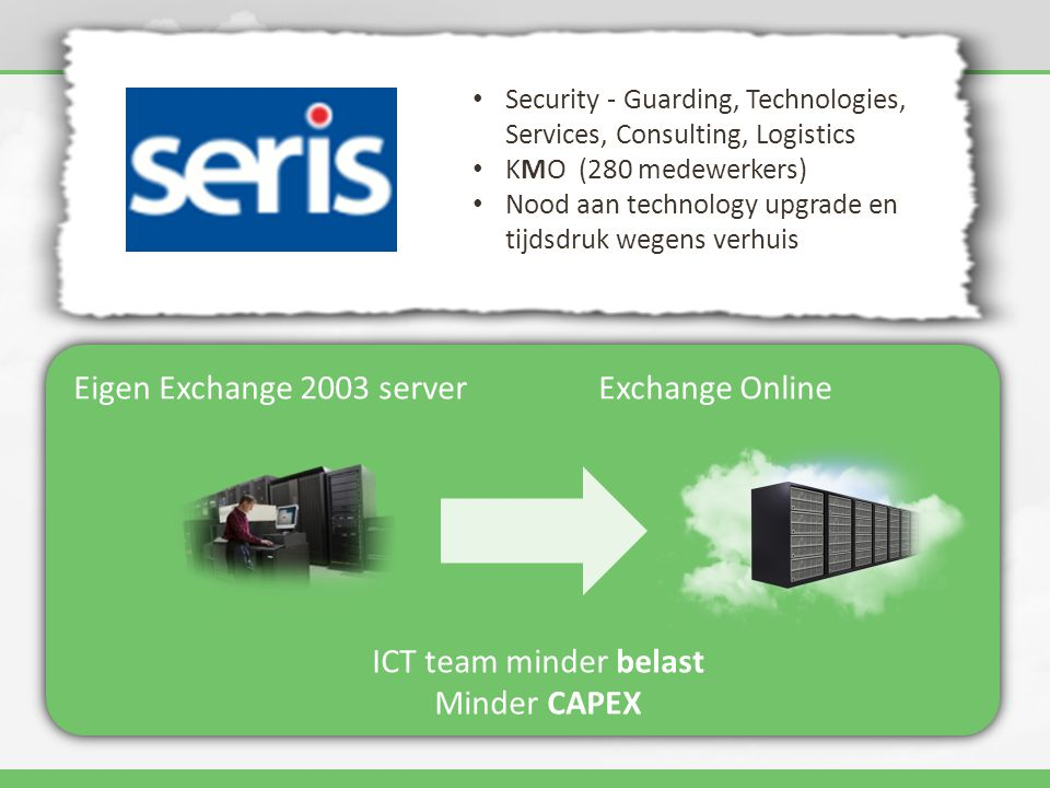 Eigen Exchange 2003 serverExchange Online ICT team minder belast Minder CAPEX • Security - Guarding, Technologies, Services, Consulting, Logistics • KMO (280 medewerkers) • Nood aan technology upgrade en tijdsdruk wegens verhuis