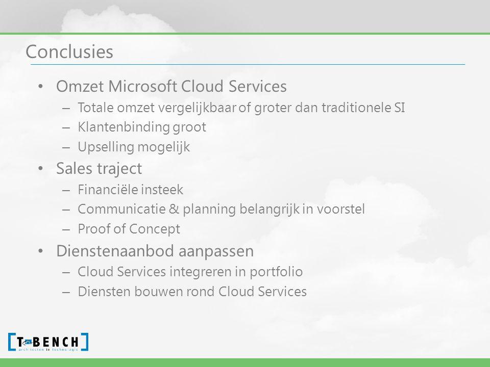 Conclusies • Omzet Microsoft Cloud Services – Totale omzet vergelijkbaar of groter dan traditionele SI – Klantenbinding groot – Upselling mogelijk • Sales traject – Financiële insteek – Communicatie & planning belangrijk in voorstel – Proof of Concept • Dienstenaanbod aanpassen – Cloud Services integreren in portfolio – Diensten bouwen rond Cloud Services