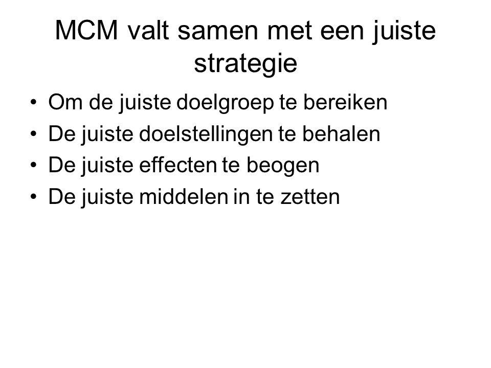 MCM valt samen met een juiste strategie •Om de juiste doelgroep te bereiken •De juiste doelstellingen te behalen •De juiste effecten te beogen •De jui