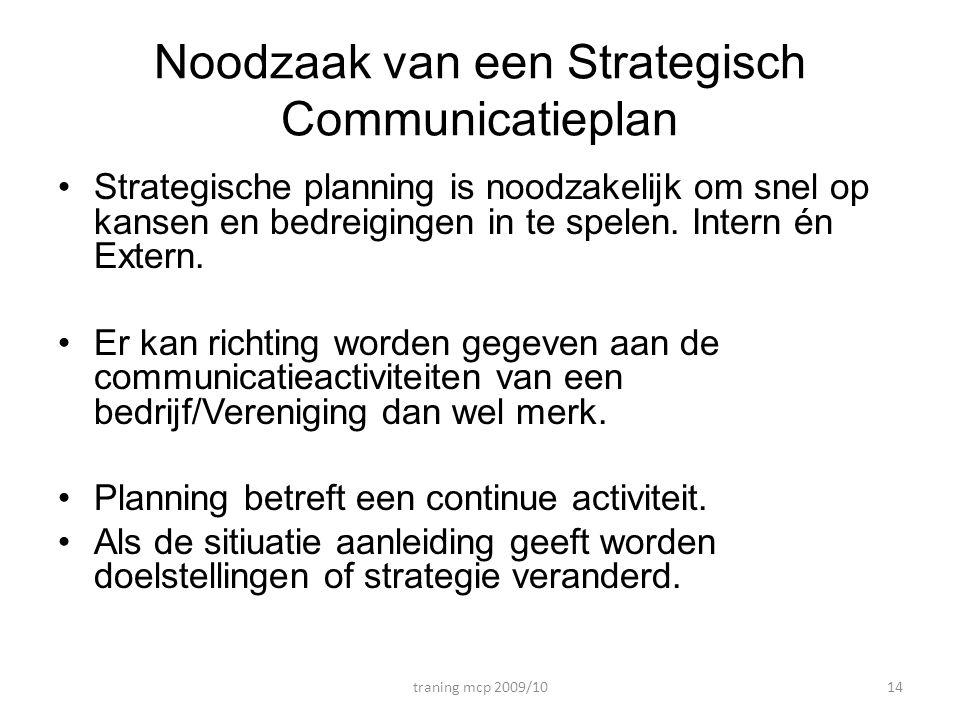 Noodzaak van een Strategisch Communicatieplan •Strategische planning is noodzakelijk om snel op kansen en bedreigingen in te spelen. Intern én Extern.