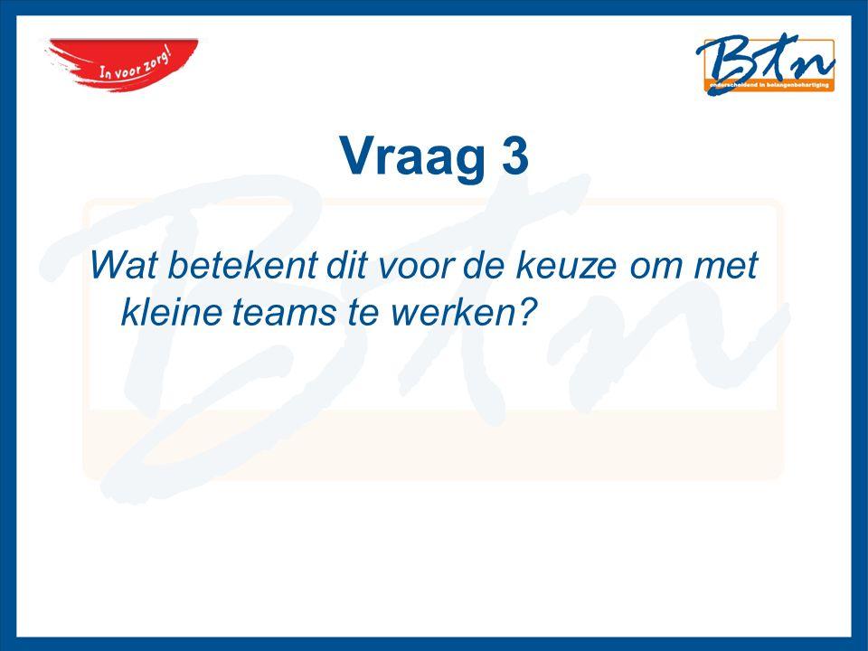 Vraag 3 Wat betekent dit voor de keuze om met kleine teams te werken?