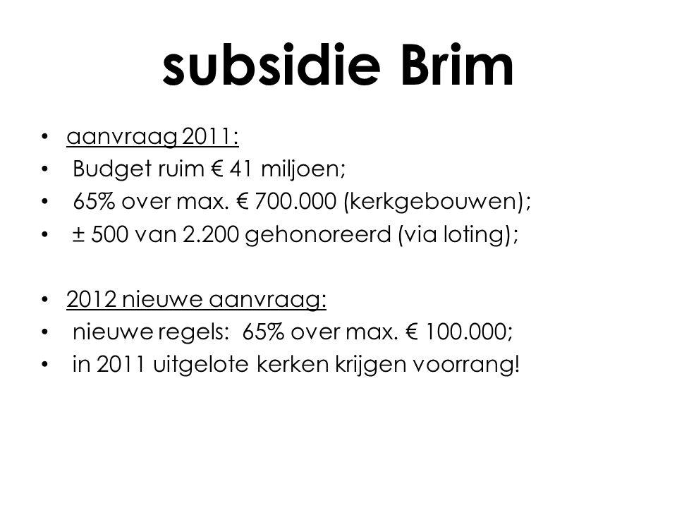 subsidie Brim • aanvraag 2011: • Budget ruim € 41 miljoen; • 65% over max.