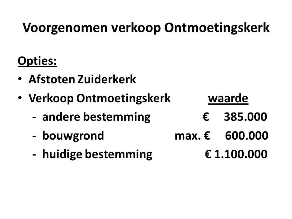Voorgenomen verkoop Ontmoetingskerk Opties: • Afstoten Zuiderkerk • Verkoop Ontmoetingskerk waarde - andere bestemming € 385.000 - bouwgrond max.