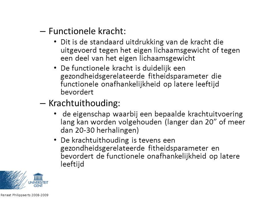 Proprioceptieve neuromusculaire facilitatie Combinatie van:  autogene inhibitie: intense isometrische (statische) samentrekking van de te rekken spier veroorzaakt een grotere relaxatie van diezelfde spier  facilitatie: wanneer een spier in contractie gaat (antagonist), kan de agonist beter ontspannen (successieve inductie) Renaat Philippaerts 2008-2009