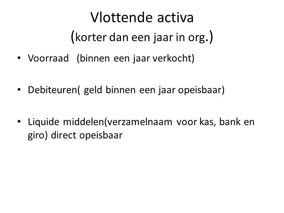 Vlottende activa ( korter dan een jaar in org.) • Voorraad (binnen een jaar verkocht) • Debiteuren( geld binnen een jaar opeisbaar) • Liquide middelen