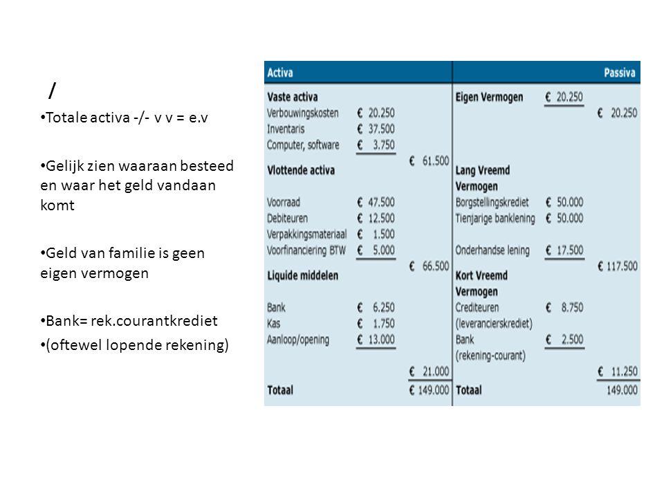 / • Totale activa -/- v v = e.v • Gelijk zien waaraan besteed en waar het geld vandaan komt • Geld van familie is geen eigen vermogen • Bank= rek.cour