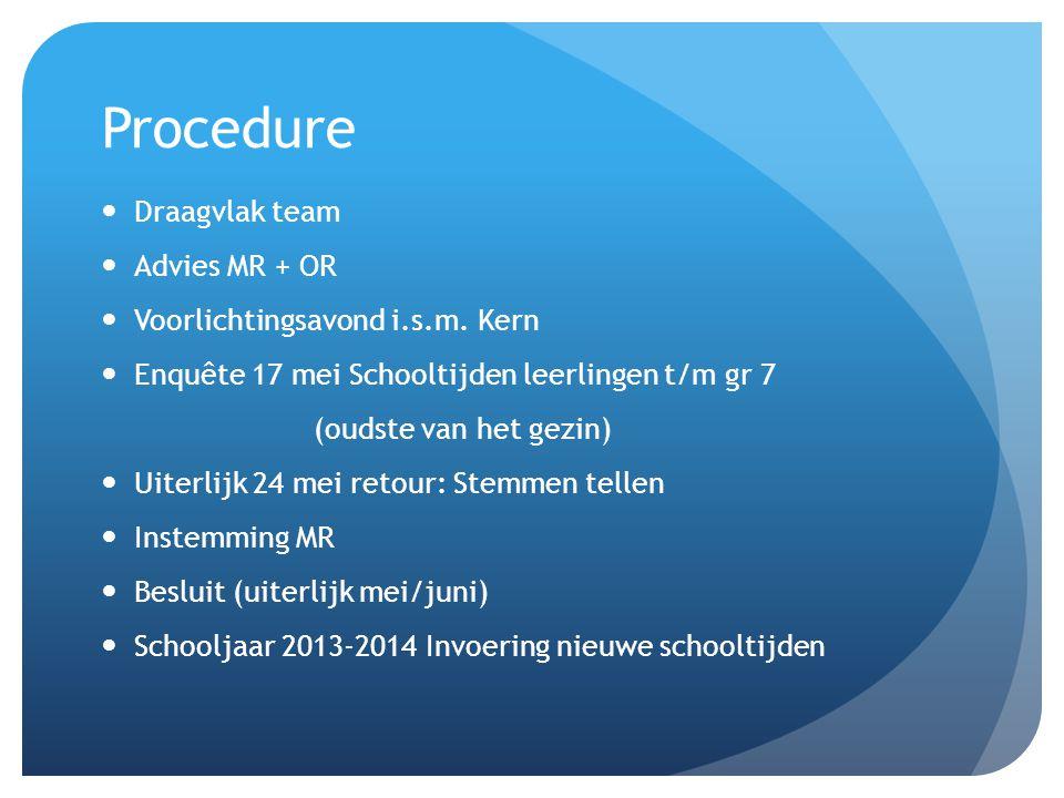 Procedure  Draagvlak team  Advies MR + OR  Voorlichtingsavond i.s.m. Kern  Enquête 17 mei Schooltijden leerlingen t/m gr 7 (oudste van het gezin)