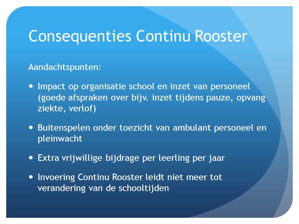 Consequenties Continu Rooster Aandachtspunten:  Impact op organisatie school en inzet van personeel (goede afspraken over bijv. inzet tijdens pauze,