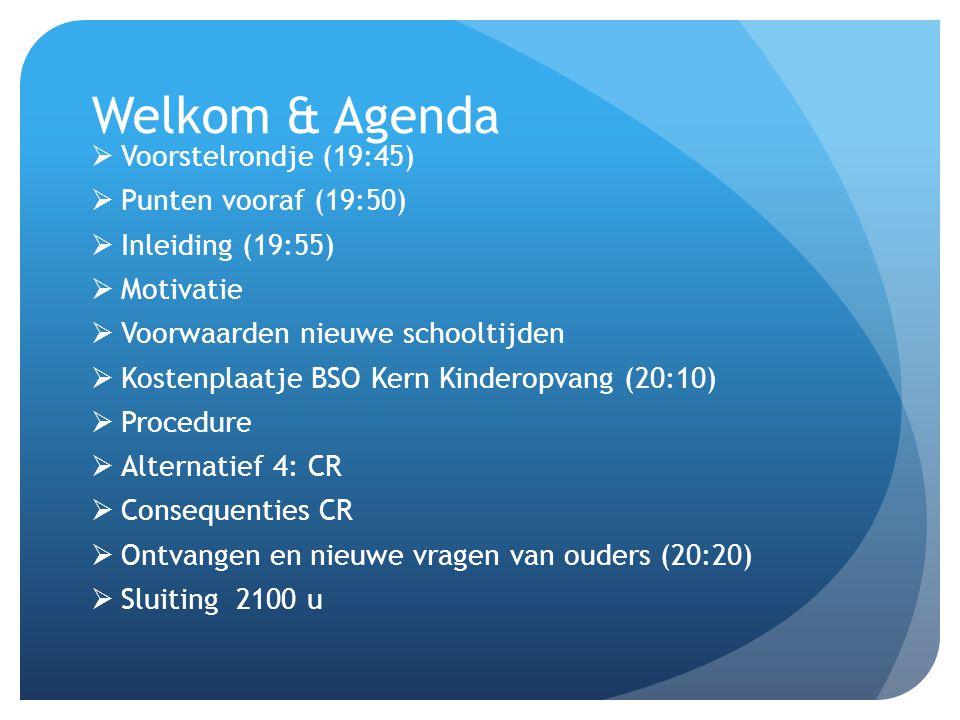 Welkom & Agenda  Voorstelrondje (19:45)  Punten vooraf (19:50)  Inleiding (19:55)  Motivatie  Voorwaarden nieuwe schooltijden  Kostenplaatje BSO