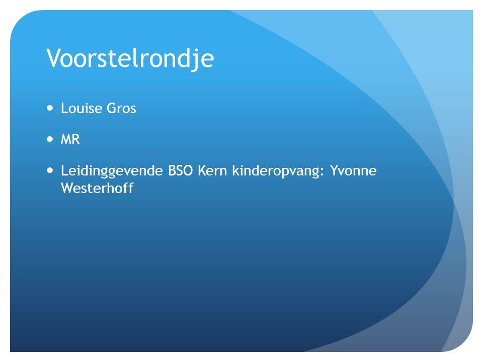 Voorstelrondje  Louise Gros  MR  Leidinggevende BSO Kern kinderopvang: Yvonne Westerhoff