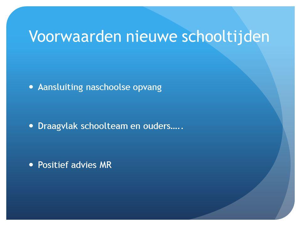 Voorwaarden nieuwe schooltijden  Aansluiting naschoolse opvang  Draagvlak schoolteam en ouders…..  Positief advies MR