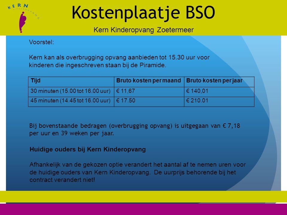 Kern Kinderopvang Zoetermeer Kostenplaatje BSO Voorstel: Kern kan als overbrugging opvang aanbieden tot 15.30 uur voor kinderen die ingeschreven staan