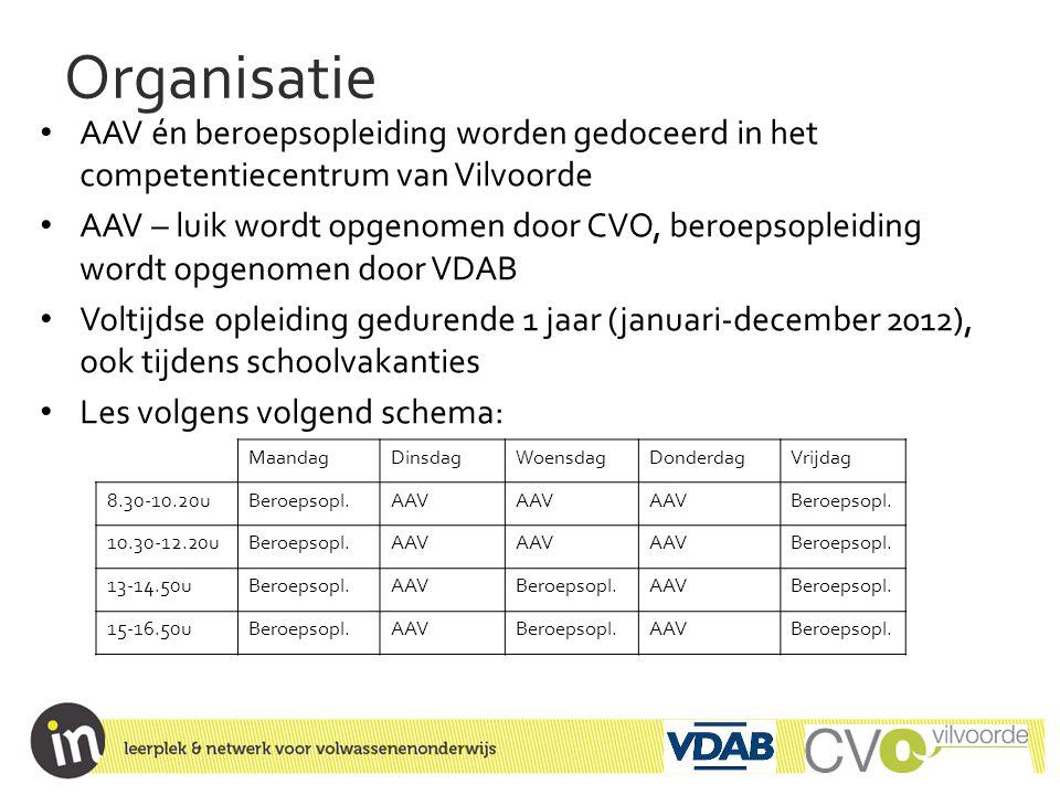 Organisatie • AAV én beroepsopleiding worden gedoceerd in het competentiecentrum van Vilvoorde • AAV – luik wordt opgenomen door CVO, beroepsopleiding
