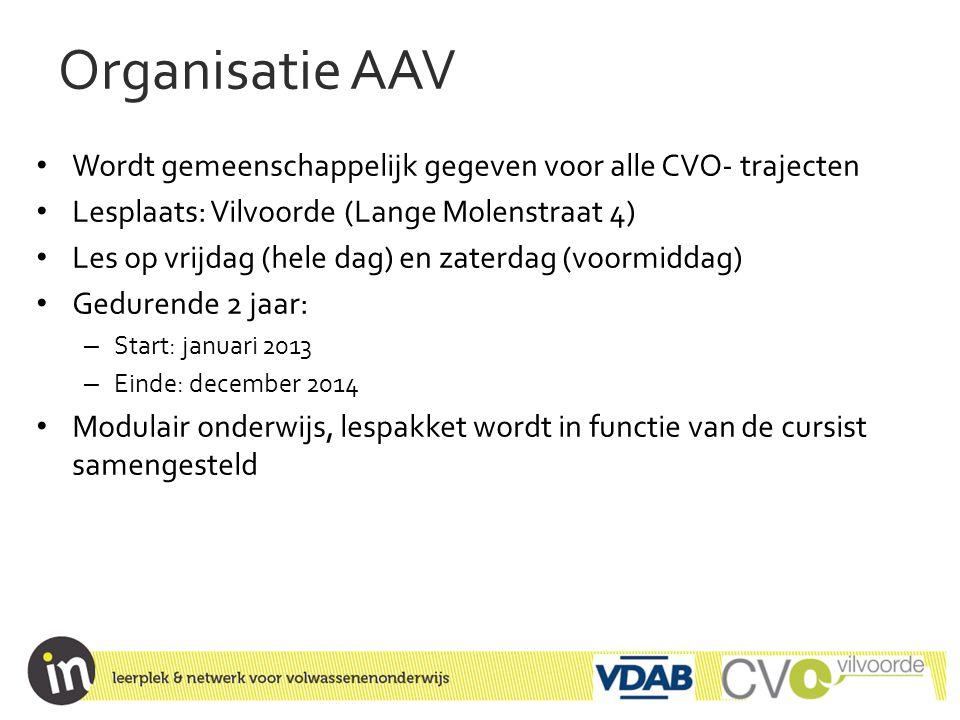 Organisatie AAV • Wordt gemeenschappelijk gegeven voor alle CVO- trajecten • Lesplaats: Vilvoorde (Lange Molenstraat 4) • Les op vrijdag (hele dag) en