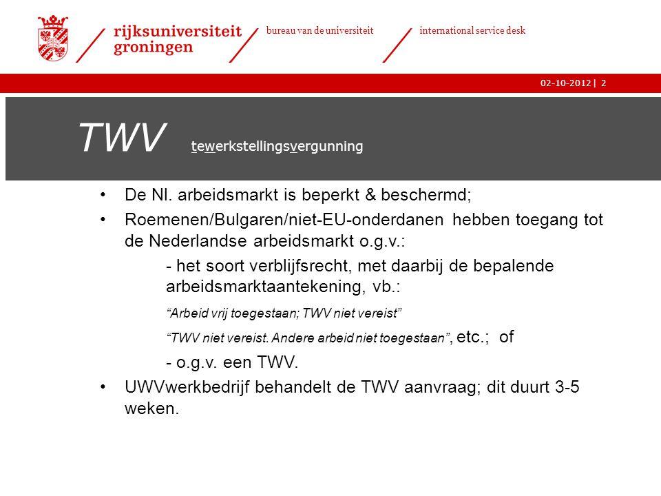 | bureau van de universiteit international service desk 02-10-20122 TWV tewerkstellingsvergunning •De Nl. arbeidsmarkt is beperkt & beschermd; •Roemen