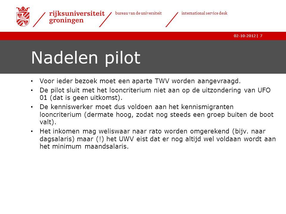   bureau van de universiteit international service desk 02-10-2012 Nadelen pilot • Voor ieder bezoek moet een aparte TWV worden aangevraagd.
