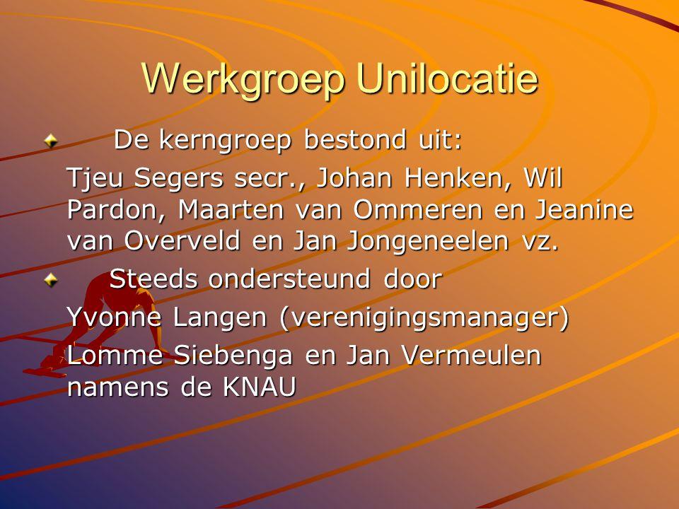 Werkgroep Unilocatie De kerngroep bestond uit: De kerngroep bestond uit: Tjeu Segers secr., Johan Henken, Wil Pardon, Maarten van Ommeren en Jeanine v