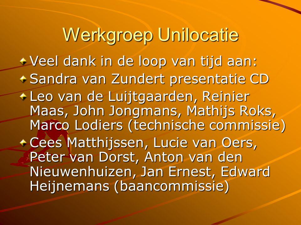 Werkgroep Unilocatie Veel dank in de loop van tijd aan: Sandra van Zundert presentatie CD Leo van de Luijtgaarden, Reinier Maas, John Jongmans, Mathij